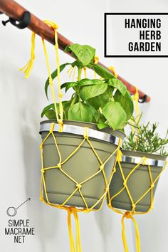 DIY Hanging Herb Garden using a simple macrame net