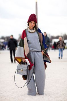 Paris Fashion Week - Street Style Fall 2012 - SWEATPANTS, yes that's right. Sweatpants made their Fashion Week debut... in Paris no less.