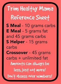 While Trim Healthy Mama (the diet I'm currently trying) isn't about numbers, it's helpful to have a reference if you're wondering if something fits with a certain meal type or not. Here's a handy r...