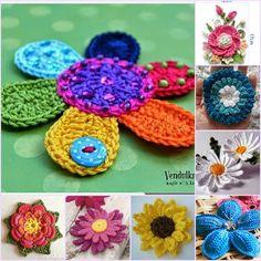Es tiempo de flores. Aquí tenéis montones de ellas a Crochet con patrón gratis. ¿Os gustan? http://bit.ly/corazonesflorescrochet