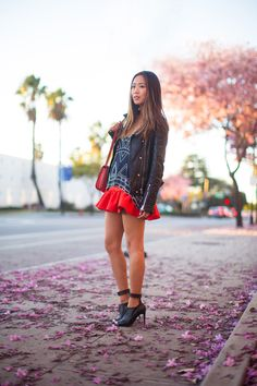 Date Night Inspiration: moto leather jacket, Rebecca Minkoff skirt, and Tibi ankle strap shoes. Pink Petals in Burbank