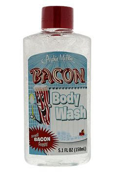 Just for you Shona!!! @shonameyer07  Bacon Scented Body Wash. then I would smell like bacon all the time. then I would want to eat it. WHERE IN THE WORLD DO YOU GET THIS? and btw, this makes a great Christmas gift. cough cough  - Get the awesome limited edition Bacon Lover's t-shirt while it's still available! http://teespring.com/icanhazawesome
