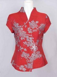 How To Sew Mandarin Collar - Chinese Neckline Piece On Blouse Shirt For Women Col Mandarin, Mandarin Collar, Collars For Women, Blouses For Women, Dress Making Patterns, Skirt Patterns, Coat Patterns, Blouse Patterns, Sewing Blouses