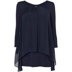 Phase Eight Therese split back blouse ($70) ❤ liked on Polyvore featuring tops, blouses, clearance, navy, three quarter sleeve tops, navy jersey, jersey tops, loose fitting tops and 3/4 sleeve blouse