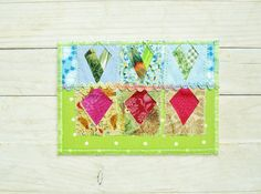 Greeting card postcard birthday patchwork quilted by poppyshome
