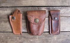 vintage leather utility belt pouch / knife sheath (3 available) by MouseTrapVintage, $16.00