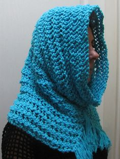 Blue Cowl Blue Chunky Cowl Blue Scarf Knit Loop by knittingwomen