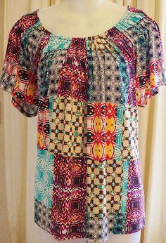 Valerie Stevens  Sz 1X Multi-Color Patchwork Poly/Spandex Plus Top Short Sleeve  | Clothing, Shoes & Accessories, Women's Clothing, Tops & Blouses | eBay!
