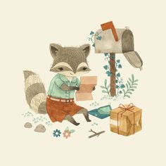 Felix Fox gets a package and letter <> art by Teagan White <> (children's illustrations)
