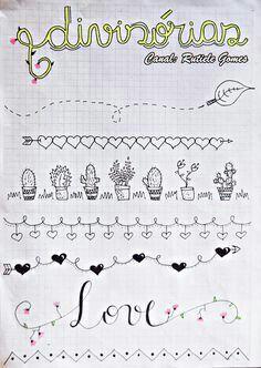 Um bullet jornal nada mais é do que um caderno que você usa fazer uma coisa . Bullet Journal Mise En Page, Bullet Journal Headers, Bullet Journal Banner, Bullet Journal Writing, Bullet Journal Ideas Pages, Bullet Journal Inspiration, Doodle Drawings, Easy Drawings, Doodle Borders