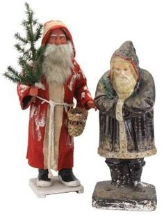 §§§ : Exceptional German Santa candy container (left) with finely painted face, 28 inches tall, estimate 3,000-4,000 USD. (Right) late-19th-century chalkware belsnickle, 23 inches tall, pictured in Schiffer's 1995 book Christmas Ornaments, estimate 15,000 to 20,000 USD.