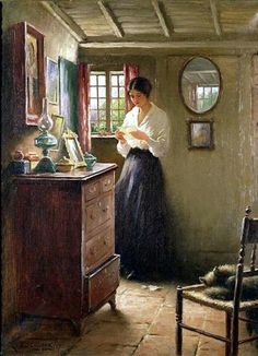 "There is such a story in this painting. ""The Letter"" by William Kay Blacklock (English, : Yes there is. A great illustration for one of the great authors, Bronte, Eyre. Wow Art, Beautiful Paintings, Awesome Paintings, Oeuvre D'art, Female Art, Art History, History Museum, Painting & Drawing, Amazing Art"