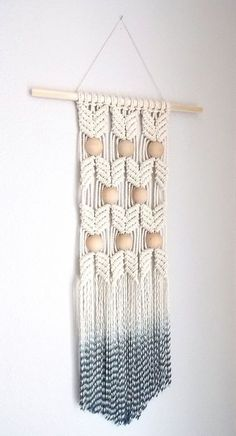 """I would make the bottom asymmetrical though. - HIMO ART for Urban Outfitters, Modern Macrame Wall Hanging, Rope art, """"HANE Macrame Wall Hanging Diy, Macrame Art, Macrame Projects, Macrame Knots, Hanging Rope, Hanging Plants, Art Corde, Modern Macrame, Rope Art"""