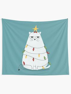 """""""Grumpy Christmas Cat"""" Wall Tapestry by cartoonbeing Tapestry Design, Wall Tapestry, Textile Prints, Textiles, Christmas Cats, Christmas Decor, Thing 1, Cat Wall, All Print"""