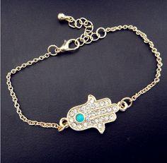 B150 Hamsa mão de fátima turquesa pedra 18 K chapeamento pulseiras jóias por atacado em Pulseira com pingentes de Jóias no AliExpress.com | Alibaba Group