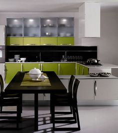 white black lime kitchen