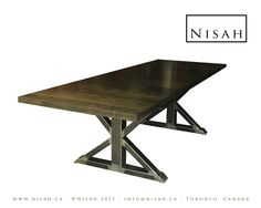 Modern Dining Table with Hand welded Distressed Steel Trestle Base and thick wooden Top. $1,413.00, via Etsy.