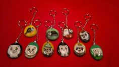 keychain with ferrets paintings