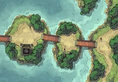The Island Crossing, a battle map for D&D / Dungeons & Dragons, Pathfinder, Warhammer and other table top RPGs. Tags: bridge, cliff, coast, island, japan, ocean, road, sea, shore, shrine, skill challenge, temple, trail, tropical: