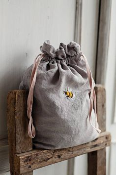 Linen Pouch Grey Linen Bag Hand Embroidery Bee Embroidery