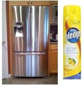 Clean your stainless appliances with Pledge! I seen other posts about this so I had to give it a try.  It really works!  I sprayed Pledge on my brushed stainless fridge, let it sit for a minute or two, then wiped down with a clean paper towel.  I cleaned my fridge, oven, dishwasher and stainless cabinet hardware.  I was impressed at how well they all turned out.  It really does work.