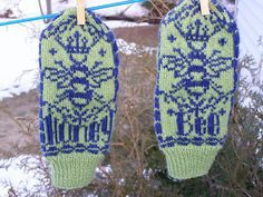 Honey Bee Mittens.   pattern available on Ravelry.