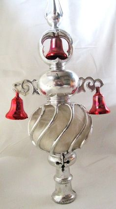 Vintage 1960s Silver And Red Tree Topper by AuntSuesVintage, $14.99