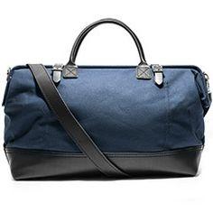 Canvas & Leather Weekender Bag (Navy)