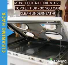 Most electric coil stove tops lift up to clean underneath