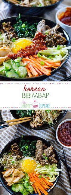 Step away from the buffet and try something different! Korean Bibimbap is an Asian food lover's dream – a bowl full of crispy rice, lots of sautéed veggies, a fried egg, and some thinly sliced Florida Beef Council beef, all drizzled with a spicy sauce. Bibimbap Bowl, Korean Bibimbap, Bibimbap Recipe Easy, Bibimbap Sauce, Asian Recipes, Beef Recipes, Cooking Recipes, Ethnic Recipes, Cookbook Recipes