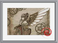 Steampunk Angel Cross Stitch Printable Needlework Pattern - DIY Crossstitch Chart, Relaxing Hobby, Instant Download PDF Design