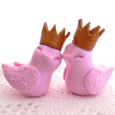 Wedding Cake Topper Pale Pink Love Birds with Gold by LavaGifts, $62.00