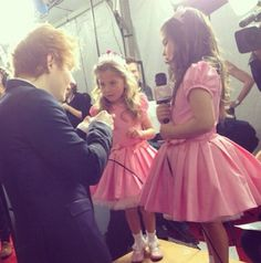 Sophia Grace and Rosie on the red carpet with Ed Sheeran