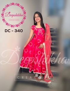 Deepshikha Creations. Contact : 090596 83293. Long Gown Dress, Frock Dress, Saree Dress, Cotton Dress Indian, Dress Indian Style, Indian Wear, Kalamkari Dresses, Ikkat Dresses, Kurti Designs Party Wear