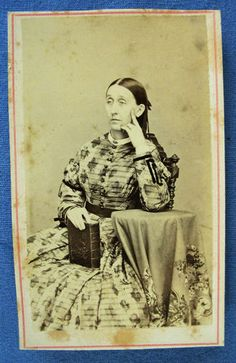 Civil War Era CDV of Woman Wearing Leaf Print Dress with Her Bible Newburgh NY | eBay