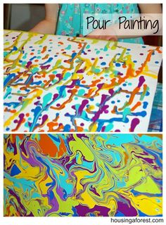 Pour Painting ~ a fun spin off of Holton Rower's tall paintings.  The process is amazing! Painting For Kids, Pour Painting, Art For Kids, Crafts For Kids, Painting With Marbles, Art Classroom, Art Techniques, Art Tutorials, Art Camp
