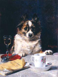 """May I?"" by Charles van den Eycken, Belgian painter of animals in everyday life, 1859-1923"