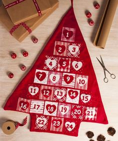 Nordic Red & White Christmas Tree Advent Calendar