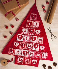 Nordic Red & White Christmas Tree Advent Calendar