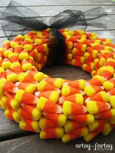 Candy Corn Wreath at artsyfartsymama.com #Halloween #wreath