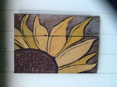 Sunflower I painted on old barn wood...if you see this Tammy Lair...is this what you would like?