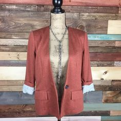 Cartonnier Rust Color Collarless Blazer - Md Cartonnier Rust Color Collarless Blazer - Md  Beautiful and soft knit blazer from Anthropologie. Roll sleeves reveal a Polkadot lining.   #anthropologie #woodsnap #knitblazer #onebuttonblazer #jacket Anthropologie Jackets & Coats Blazers