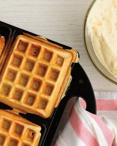 Martha Stewart Buttermilk Waffle Recipe. It's really really good. I added 1 tsp of both cinnamon and vanilla to it and it was delicious. Also, I was out of buttermilk so I added 1 TBS of lemon juice to a 1 cup measuring cup then filled the rest of the way with milk as a substitute for buttermilk. You do this for every cup of buttermilk you need. <3