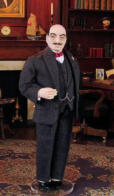 Hercule Poirot, OOAK 12th scale sculpted doll by Annemarie Kwikkel
