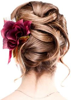 Pretty pinned updo with flower