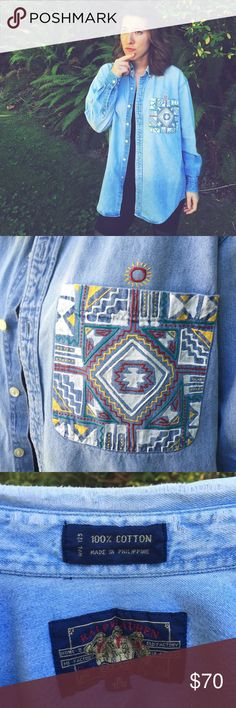 | HP | One Of A Kind Aztec Denim Soft, worn, retro button down with hand painted, Aztec-inspired breast pocket. Could probably fit size small to large depending on if you're going for the oversized look or not 👌 Ralph Lauren Tops Button Down Shirts