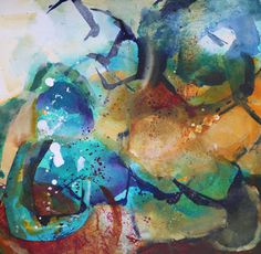 """Daily Painters Abstract Gallery: Modern Expressionistic Abstract Painting """"Hidden"""" by Elizabeth Chapman"""
