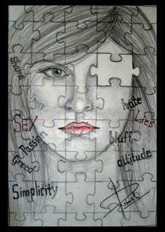 She was like an unsolved puzzle... - Sketching by Rakesh Kanwar in my artworks at touchtalent 20607