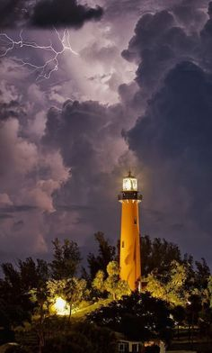 Lightning Over The Light House