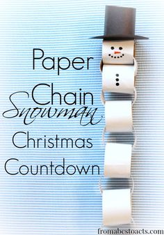 Paper Chain Snowman Christmas Countdown – From ABCs to ACTs…could also countdown to winter or winter vacation. May also use to track snow days or days below a certain temp. Preschool Christmas, Christmas Activities, Christmas Crafts For Kids, Christmas Snowman, Christmas Projects, Winter Christmas, Holiday Crafts, Holiday Fun, Fun Crafts